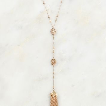 Elegantly Detailed Drop Necklace Gold