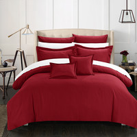 Chic Home 5 Piece Kanya Down Alternative Jacquard Striped Comforter Set, Bedding Basics, Twin, Burgundy