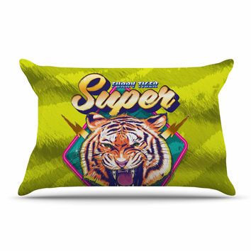 "Roberlan ""Super Furry Tiger Warrior "" Green Orange Pillow Sham"