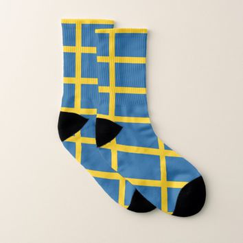 All Over Print Socks with Flag of Sweden