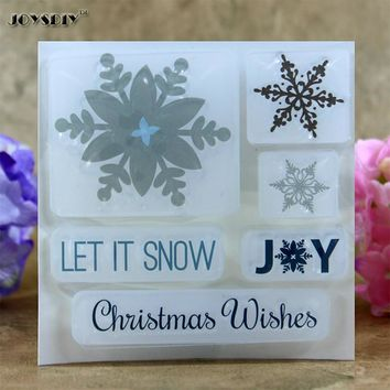 Let It Snow Snow Joys Christmas Scrapbook DIY photo cards account rubber stamp clear stamp transparent stamp  10.0*10.0 CM