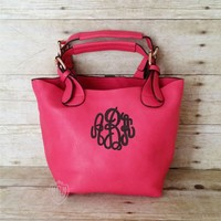 Monogrammed Small Pink Crossbody Bag - Convertible Personalized Purse - Monogram Cross body - Hot Pink Shoulder Bag - 2 bags in 1