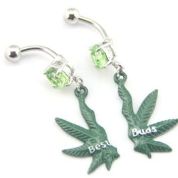 "Baqi Pair (2Pcs) ""Best Buds"" Heaf Palm Leaf Dangle Green Color Navel Bar Dangle Jewelled Belly Ring Green"