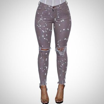 Grey High Waist Printed Ripped Skinny Jeans
