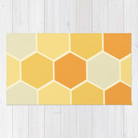 Yellow Honeycomb Rug by spaceandlines
