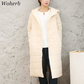 Woherb Retro Cotton Linen Parkas 2017 Winter New Fashion Hooded Women Warm Coat Plate Buttons Casual Long Jacket 73684