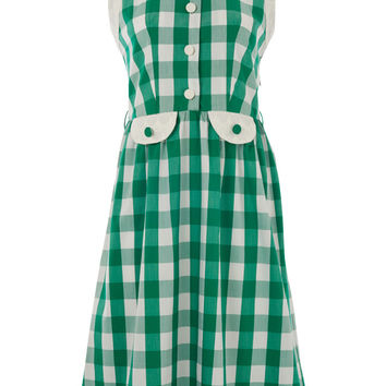 Green Picnic Check Sleeveless Shirt Dress by Lowie