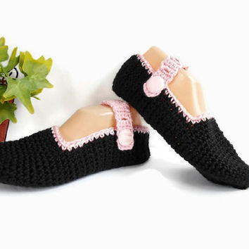 Black and Pink Crochet Slippers Adjustable Strap Mary Jane Style, Button Closure Unique Handmade Black Knit Slipper Socks