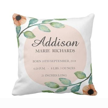Customized Cushion cover for Nursery-Watercolor Floral