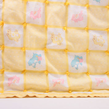 Explore  Care Bears Vintage Hand Made Tied Quilt Yellow Cute - Great ~ The Pink Room ~ 161024
