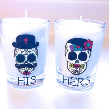 His and Hers Sugar Skull Candles - Soy Candles - 4 oz each