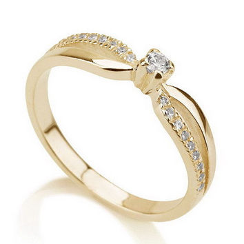 Engagement Promise Ring Gold Ring, Couples Ring ,Wedding Bands, Lovers Rings, Purity Ring