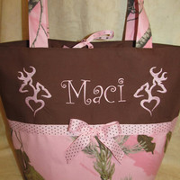 Custom handmade pink real tree camo camouflage he/she heart deer diaper bag you choose name or initials