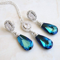 Bridal Earrings Necklace Set Swarovski Peacock Blue by SomsStudio