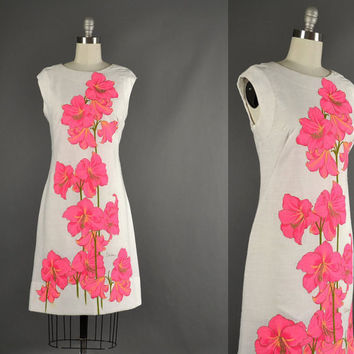 Vintage 1960s Dress, 60s Sheath dress Shaheen designer floral linen day dress