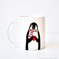 Penguin mug - coffee cup red penguin gift love vday Valentines Day gift