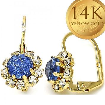 Gold Layered Women Flower Leverback Earring, with Tanzanite Crystal, by Folks Jewelry