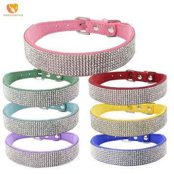 Bling Rhinestone Korean Velvet Dog Collar Puppy Cat Double-sided Pet Neck Strap Pet Accessories For Small Dogs Teddy Chihuahua