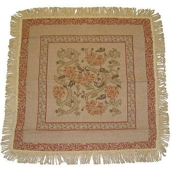 Woven Floral Nature Garden Beige Orange Square Shaped Tapestry Table Cloths