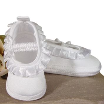 Ballet Slipper Dress Shoes Matte Satin with Ruffle Trim Infant Girls 0-9M