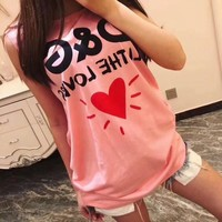 """Dolce & Gabbana"" Women Casual Fashion Love Heart Letter Print Sleeveless Vest T-shirt Top Tee"