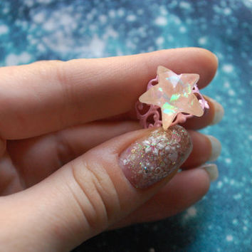 Star ring, sparkling fairy, lolita, fairy, kei, harajuku, pastel goth, decora, japanese fashion, magical girl, kawaii accesories