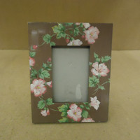 Silvestri Handcrafted Picture Frame Brown/Green/Pink Fits 4in x 6in Wood Glass -- Used