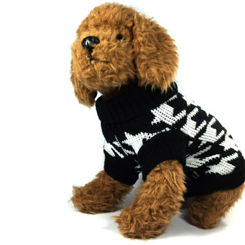 Black Houndstooth Dog Sweater