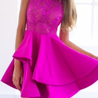 Hot Pink Sheer Lace Panel Layered Skater Dress