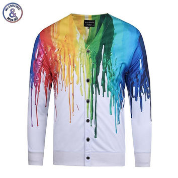Mr.1991INC New Arrivals Men's V-neck Long Sleeve Shirts 3d Print Splash Paint Fashion Shirts Tops Tees 3d Blouse