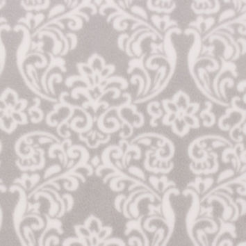 Anti Pill Fleece Fabric 59''-White Damask on Gray - JoAnn | Jo-Ann
