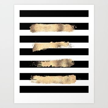 modern abstract decor,black and gold,gold foil,gold wall art,office,home decor,fashion print Art Print by Printable Aleks