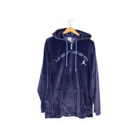 JORDAN VELOUR TRACKSUIT - nike air jordan - 23 - track suit - warm up - sweatshirt - hoodie + pants - blue velvet - medium