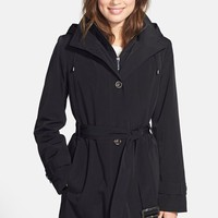Women's Gallery Two-Tone Belted Raincoat with Detachable Hood & Liner (Online Only)