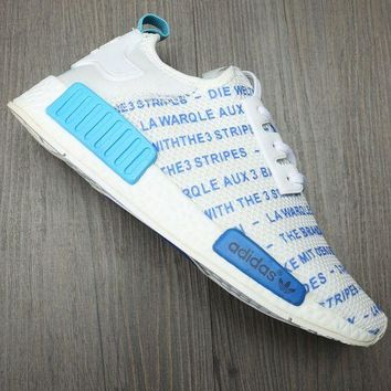 Adidas NMD New Trending Unisex Casual Sport Running Sneakers Shoes White Blue I