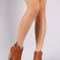 Perforated Side Buckle Peep Toe Booties
