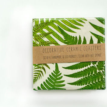 Bamboo and Ferns Ceramic Coasters, set of 4