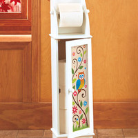 Decorative Colorful Owl Toilet Paper Roll Storage Cabinet W/Dispenser Bathroom