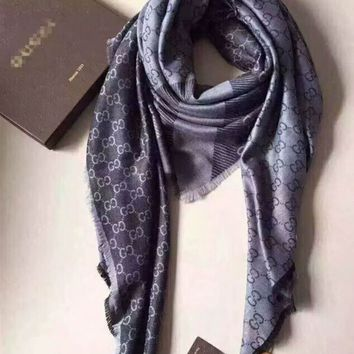 Gucci Trending  Fashion Woman Men Print Cashmere Warm Cape Scarf Scarves Grey G-XLL-WJ