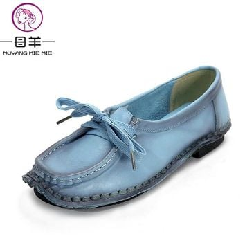 Women's Handmade Shoes Genuine Leather Flat Lacing Mother Shoes Woman Loafers Soft Sin