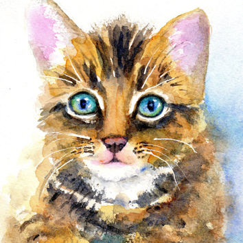 ORIGINAL Watercolor Painting, Tabby Kitten, Cat Portrait, 5x7 painting, 8x10 matted, Animal lover, Pet sitter gift, Nursery art