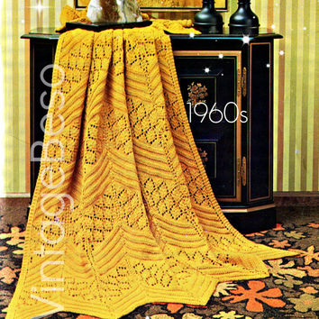 Chevron Lace KNITTING Pattern to MAKE Afghan Knitting Pattern Vintage 1960s Vintage Beso Instant PDF for Immediate Digital Delivery