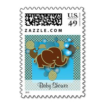 It's A Boy | Baby Elephant | Blue & Brown Plaid Stamp
