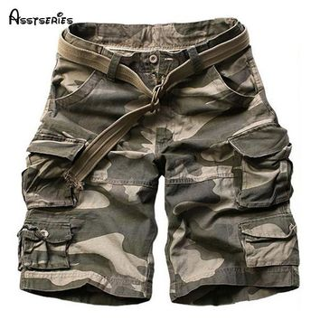 2018 Summer Men's Cargo Work Casual Bermuda Shorts Men Fashion Overall Trousers Plus size Loose Five Minutes Beach Shorts 75wy