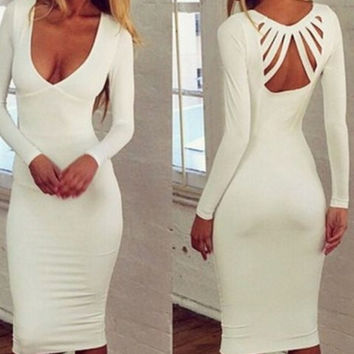 White Spandex V-Neck Long Sleeve Midi Dress