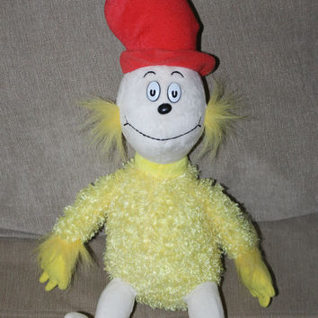 Vintage Plush Toy,  Dr Seuss Green Eggs and Ham, Sam I Am Book, Yellow Doll, Boys & Girls 3 and Up, Soft w Red Hat, Yellow and White Body
