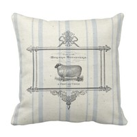 French Grain Sack Sheep Throw Pillow