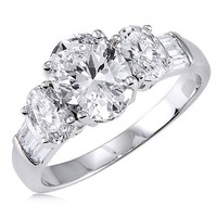 Sterling Silver 925 Oval Cubic Zirconia CZ 3 Stone Ring - Women's Engagement Wedding Ring Size 8