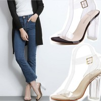 Women Fashion All-match Transparent Crystal Rough Heel Sandals Heels Shoes