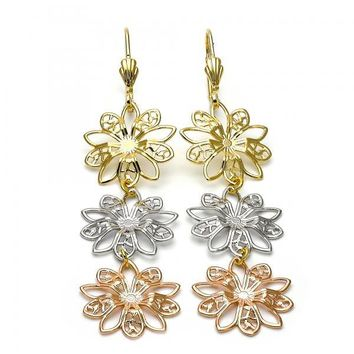 Gold Layered 5.099.011 Long Earring, Flower Design, Diamond Cutting Finish, Tri Tone